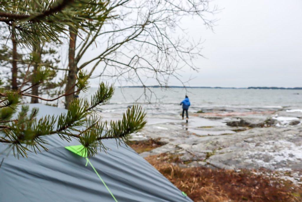 Kopparnäs / Helmikuinen telttaretki lasten kanssa