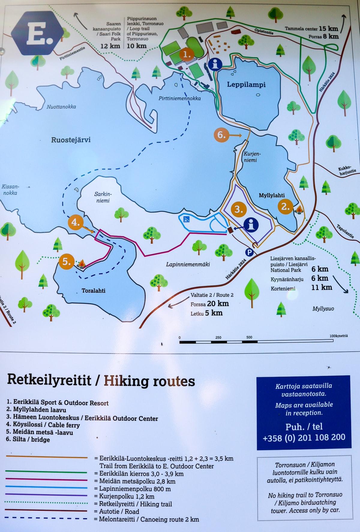 Ruostejärvi / Eerikkilä / Hämeen luontokeskus / kartta