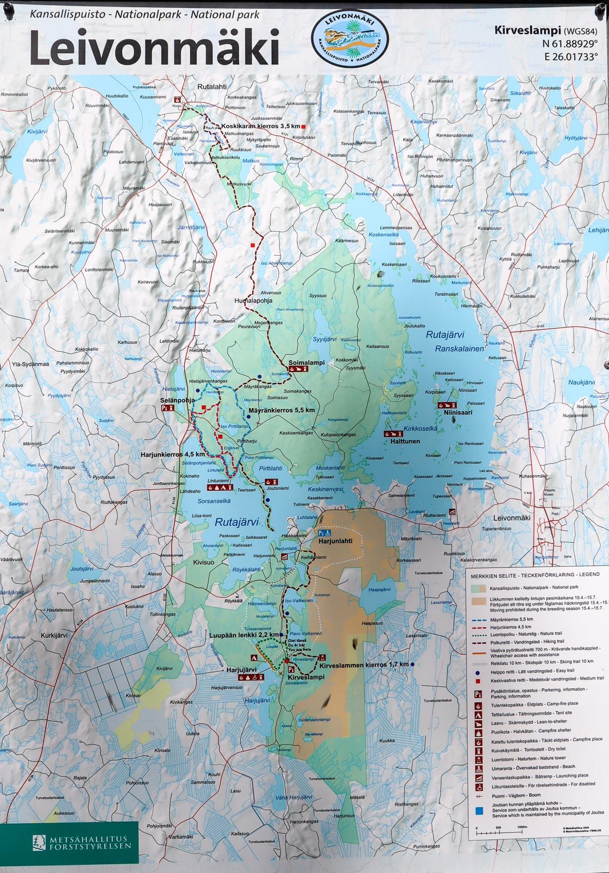 Leivonmäen kansallispuisto / kartta