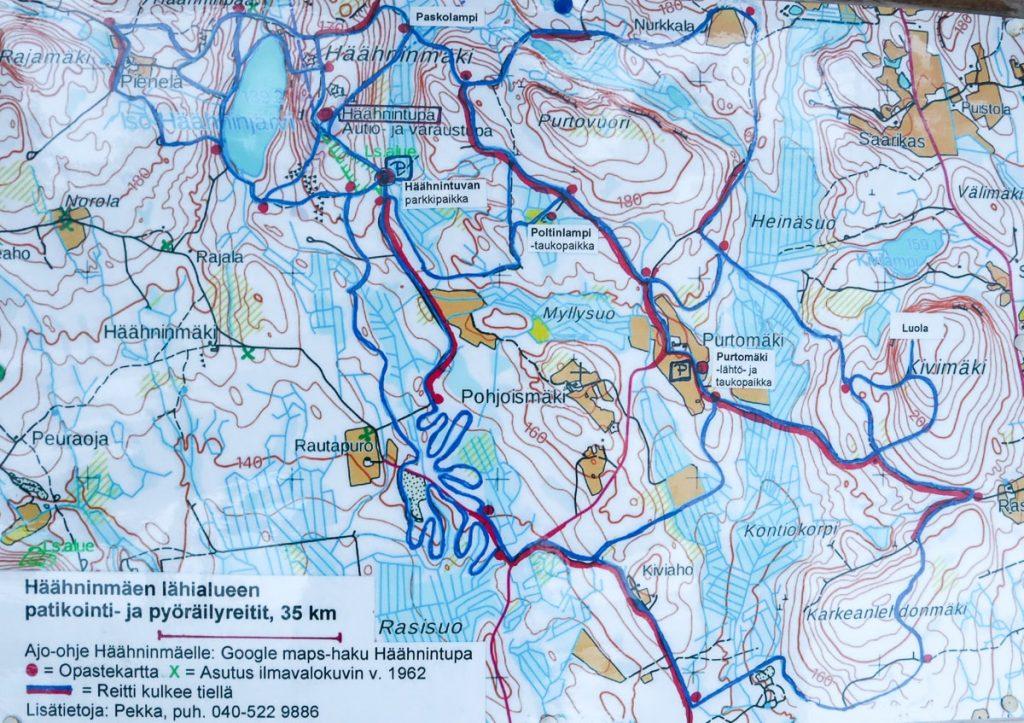 Kartta / Häähninmäki / Häähninmäen patikointi- ja pyöräilyreitit