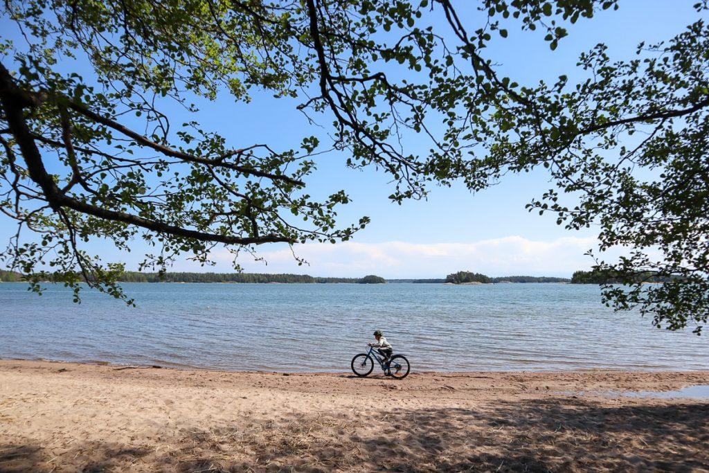 Sandfjärden / Kopparnäs / maastopyöräily lasten kanssa